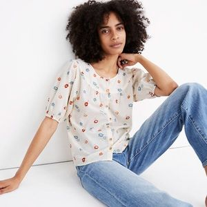 MADEWELL Cream Prose Dotted Floral Heyday Shirt M